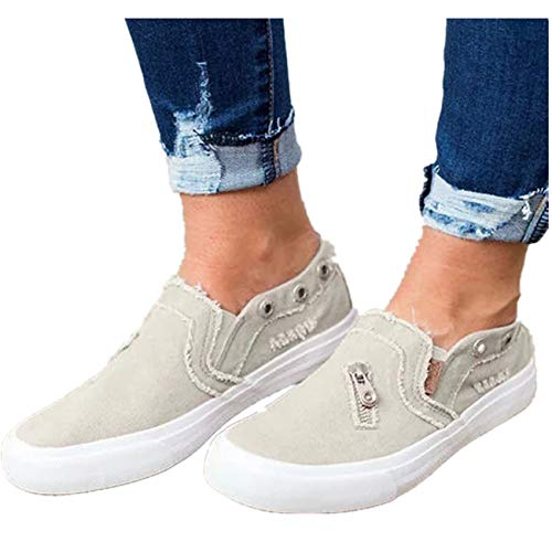 Women Loafers Vintage Out Shoes Round Toe Platform Flat Heel Buckle Strap Casual Walking Shoes (US:7, Beige - Canvas) ()