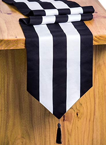Letjolt Classical Black Striped Table Runner Tassels Cotton Fabric Runner Wedding Party Table Runner Homecoming Party Dinner Table Decor Fireplace Tapestry Decoration, 72'' -