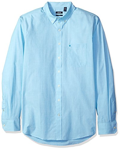 IZOD Men's Size Big Essential Solid Long Sleeve Shirt, Algoers Blue, 2X-Large Tall Slim (Slim Tall Clothing)