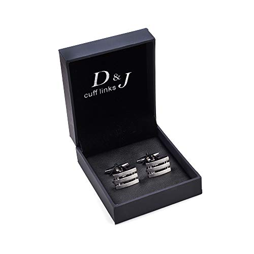 Frame Rhodium Cufflinks with Slightly Brushed Surface (Brush Silver)