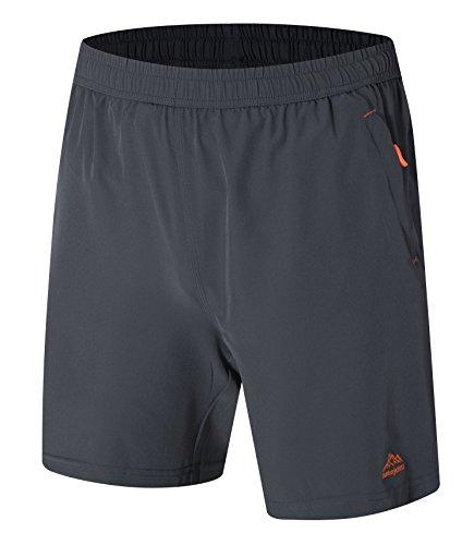 祝福押し下げるささやきysentoメンズ軽量通気性ファスナーポケット実行アスレチックジムQuick Dry Shorts