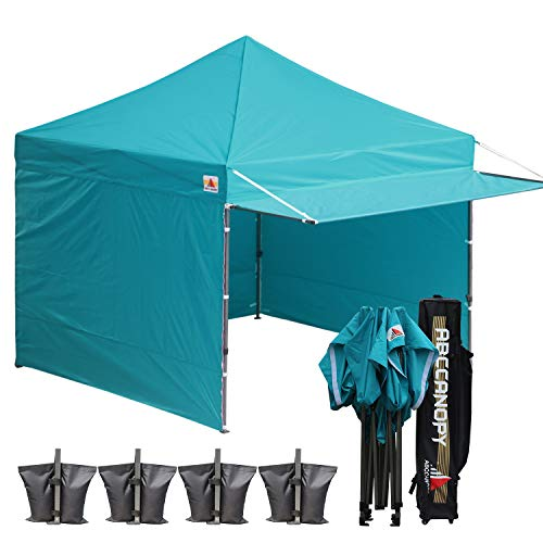 - ABCCANOPY 10x10 Pop up Canopy Tent Instant Shelter Commercial Portable Market Canopy with 4 Removable Zipper End Side Walls & Wheeled Bag, Bonus 4 Sand Bags & 23 Square Feet of Awning (Turquoise)