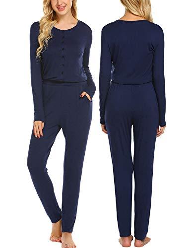 Ekouaer Women's One Piece Pajama Romper Long Sleeve Union Suit Thermal Underwear Set Jumpsuit Sleepwear, Champlain Color, -