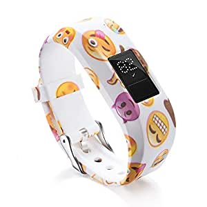 TERSELY Band Strap for Garmin Vivofit JR 3 Junior 2, Soft Silicone Metal Clasp Buckle Wrist Strap Watch Band Bracelet for VIVOFIT 3 JR Junior 2 1 Kids Fitness Tracker (Emotion)