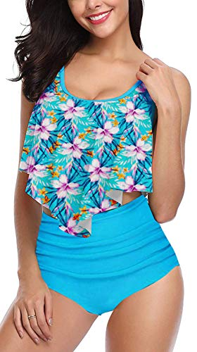 (Fancyskin Swimsuits for Women Two Pieces Bathing Suits Ruffled High Waisted Blue M)