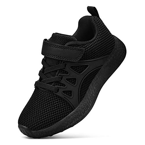 Feetmat Boys Sneakers Lightweight Breathable Straps Kids Tennis Shoes for School Black 12.5 ()