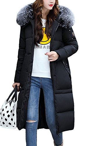 LANOMI Womens Ladies Quilted Padded Down Jacket Coat Puffer Bubble Slim Warm Thick with Hood UK 6 8 10 12 14 Black
