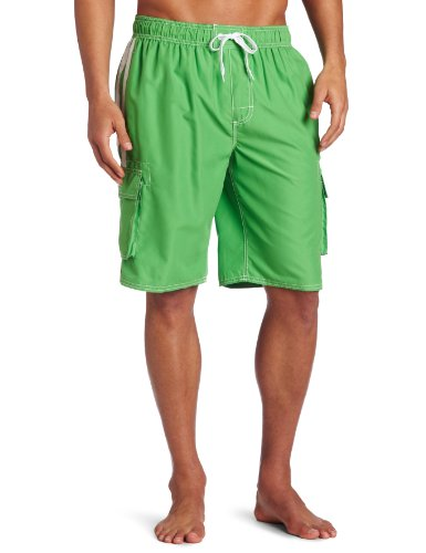 Kanu Surf Men's Barracuda Swim Trunks (Regular & Extended Sizes), Green, Small -