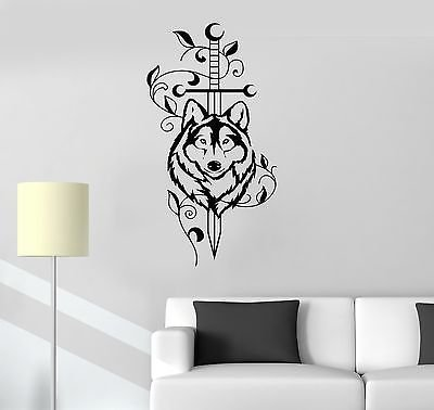 Vinyl Decal Sword Wolf Animal Predator Tribal Decor Wall Stickers Mural VS527