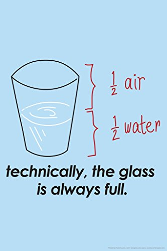 Technically The Glass Is Always Full Humor Poster - Half Full Glass