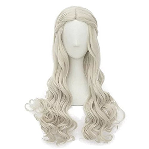 Alacos Lolita Princess Style 25 Inches Long Blonde Curly Wavy Braid Anime Cosplay Wigs for Women Christmas Party Carnival Dress Up Holiday Use+ (Grandma Halloween Costume Ideas)