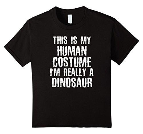 Kids Human Costume I'm Really A Dinosaur Funny Halloween T-shirt 8 Black -