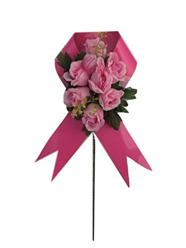 Graveside Floral Arrangements Cemetery Wreaths Vases and Stakes (Breast Cancer Stake , Pink Flowers/Ribbon)