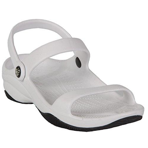 DAWGS Women's Premium 3-Strap Sandal,White/Black,6 M - Black Sandal Strap 3