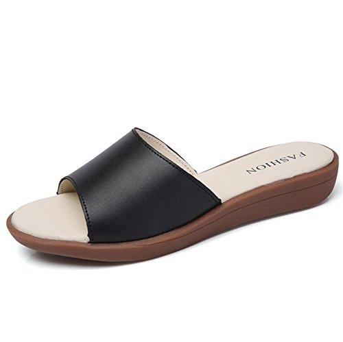 Verano sandalias de las señoras sandalias planas de la playa del patín plano 3