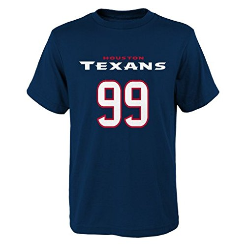 NFL Houston Texans J.J. Watt # 99 Youth Boys 8-20 Name & Number Short Sleeve Tee, Large (14/16), Navy