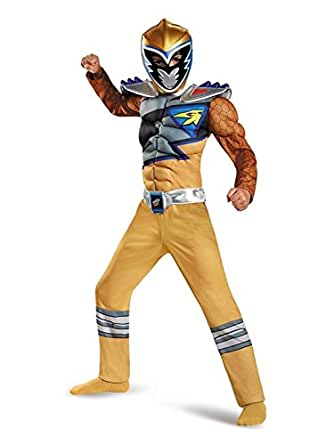 Power Rangers Dino Charge Boys Gold Ranger Halloween Muscle Costume Medium 7-8
