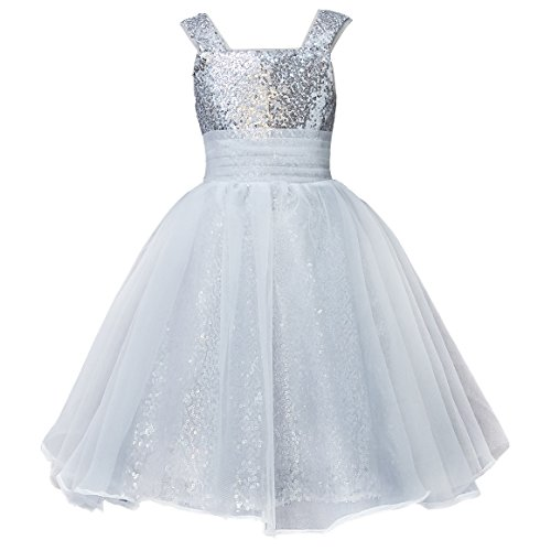 Mermaidtalee Long Sequin Girl's Dresses Flower Girl Dresses Size4T Silver