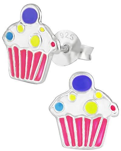 Hypoallergenic Sterling Silver Sweet Treats Stud Earrings for Kids (Pink Cupcake)