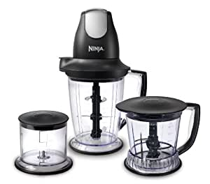 Ninja Blender/Food Processor with 450-Watt Base, 48oz Pitcher, 16oz Chopper Bowl, and 40oz Processor Bowl for Shakes, Smoothies, and Meal Prep (QB1004)