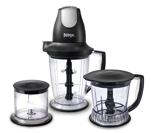 Set Mini Meal (Ninja Blender/Food Processor with 450-Watt Base, 48oz Pitcher, 16oz Chopper Bowl, and 40oz Processor Bowl for Shakes, Smoothies, and Meal Prep (QB1004))