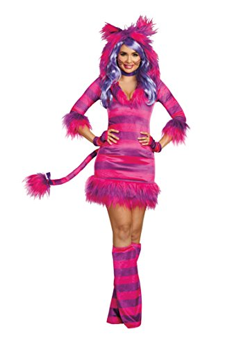 Dreamgirl Women's Colorful Magic Cat Storybook Costume Dress, Pink/Purple, Medium]()