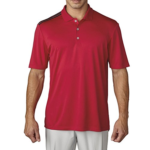 (adidas Golf Men's Golf Climacool 3-Stripes Polo Shirt, Unity Pink F, Small)