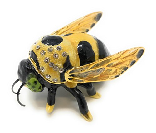 Kubla Craft Enameled Bumblebee Mini Trinket Box, Accented with Austrian Crystals, 2 Inches Long ()