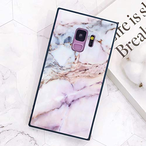 Samsung Galaxy S9 Case Square, White and Pink Marble Pattern Soft TPU Shockproof Classic Stylish Back Cover Protective Case for Samsung Galaxy S9