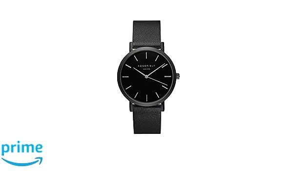 Rosefield The Gramercy Cuarzo - Reloj (Reloj de Pulsera, Femenino, Negro, Cuero, Negro, Alrededor): Amazon.es: Relojes