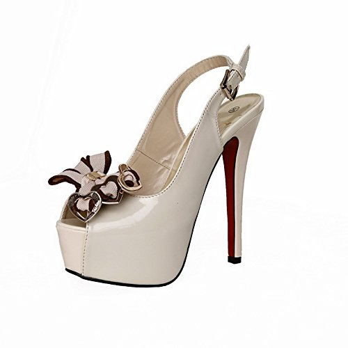 VogueZone009 Womens Open Peep Toe High Heel Platform Stiletto PU Patent Leather Solid Sandals with Bowknot, Beige, 2.5 UK