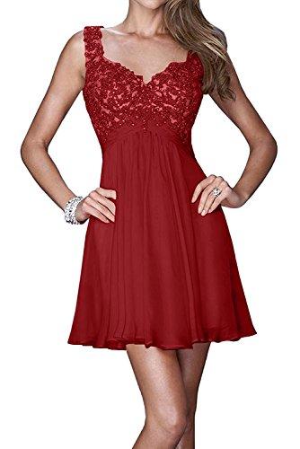 Cocktailkleider Mini Braut Tanzenkleider Champagner Rot Dunkel Spitze Abendkleider Abiballkleider Marie Damen Kurz La aXqxwR6X