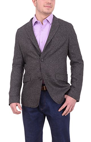 - The Suit Depot Mens NAPOLI Charcoal Textured Flannel Wool Sportcoat With Elbow Patches