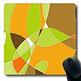 Melyti Gaming Mousepad Custom Cool Retro Swirl Loopy Orange Green Brown Shapes Lounge Layered File No Transparencies Strokes Oblong Shape 7.9 x 9.5 Inches Rectangle Non-Slip Rubber Mouse Pads