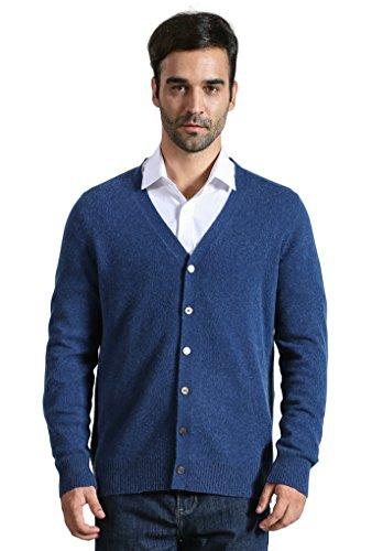 DYS CASHMERE Men's 100% Cashmere Button Front Long Sleeve Cardigan Sweater