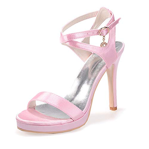 Wedding alti Toe Tacchi Peep Party Shoes Sandali alti Dress Rosa Womens Zxstz Tacchi 5PKS56