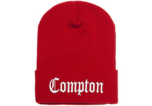 Yupoong Knit Cuffed (3D Embroidered Compton Warm Knit Beanie Cap By FlexFit Yupoong (Red))