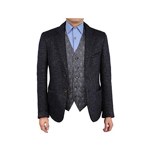 Epoint EGC1B08B-4XL Dim Grey Black Paisley Italy Tuxedo Vests Waistcoat Microfiber XXXX-Large Vest