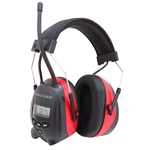 Protear Wireless Bluetooth Headphones,1200mAh Lithium Battery Safety Earmuffs, with Rechargeable Lithium Battery & Built-in Mic,NRR 25dB Noise Cancelling Ear Protector Radio Headphones For Working ()