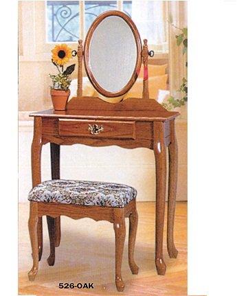 Tranditional Oak Wood Vanity Set w/ Stoo - Cherry Oak Vanity Shopping Results