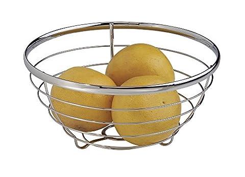 mDesign Fruit Centerpiece Bowl for Kitchen Countertops - Chrome