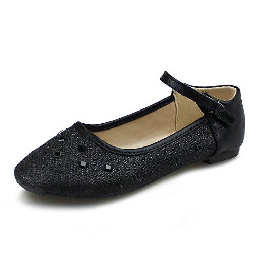 Hawkwell Girls Mary Jane Ballerina Flat Shoes(Toddler/Little Kid/Big Kid),Black Glitter,10 M US by Hawkwell