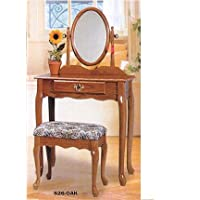 Tranditional Oak Wood Vanity Set w/ Stool & Mirror
