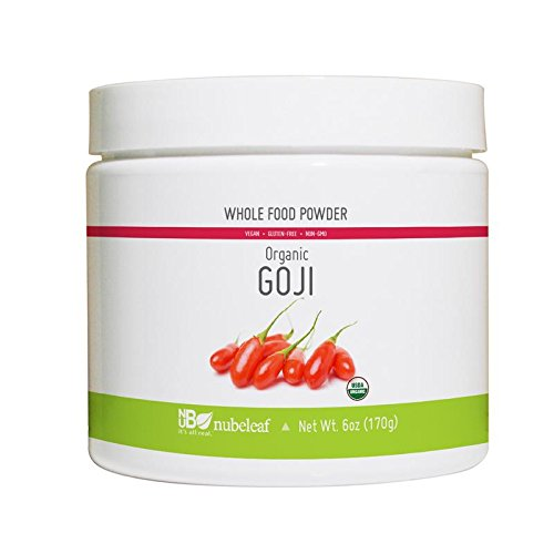 Nubeleaf Goji Berry Powder - Non-GMO, Gluten-Free, Organic, Vegan Source of Essential Vitamins & Minerals - Single-Ingredient Nutrient Rich Superfood for Cooking, Baking, Smoothies (6oz)