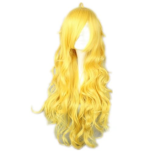 COSPLAZA Cosplay Wigs Long Curly Wavy Long Yellow Lovely Full Hair For -