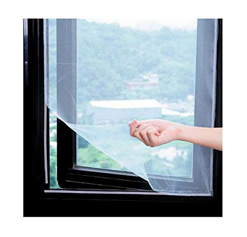 DIY Window Screen Curtain can be Adjusted for Anti Flying Bug self Sticky Window Hooks and Sticky Tape (100X150cm (Close to 39.37x59.05 inches)) Suitable for Multiple Windows (1 Packets, White) SQSM