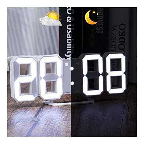 DYHM Despertador Digitale Grote 3D Wekker Witte Pantalla LED ...
