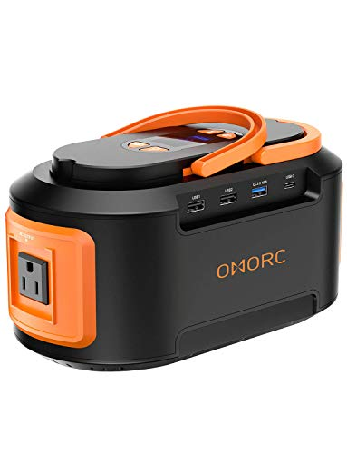 OMORC 222Wh 60000mAh Portable Power Station 4 USB (Quick Charger 3.0 &Type C),4 DC Ports,300W(Peak) AC Outlets,LED Lights,Solar Portable Generator Battery Backup Emergency for CPAP Camping Fishing