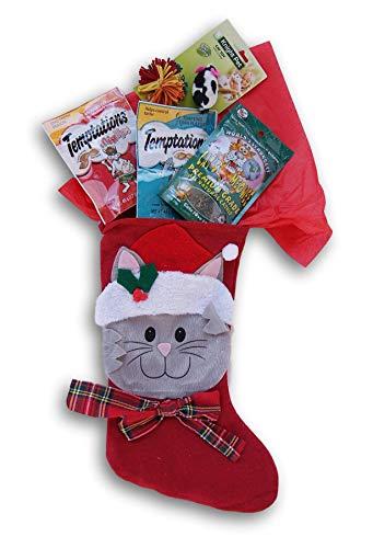 Jumping Daisy Holiday Christmas Kitty Cat Stocking Gift Filled with Treats – Catnip, Toy Mouse, Temptations Treats