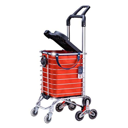 Carro de compras, escaleras que suben el carro de la compra de la tienda de comestibles plegable del carro de la carretilla...